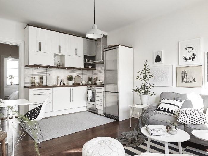 Кухня-гостиная скандинавская.