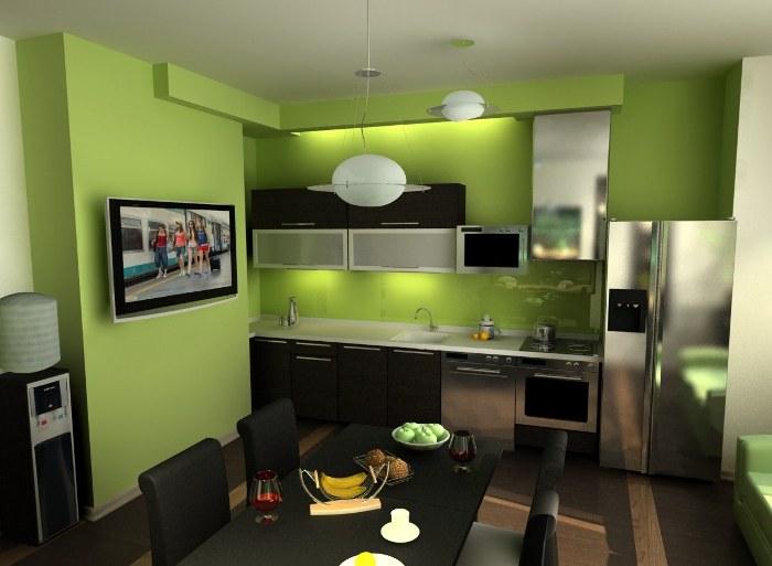 Зеленый цвет в дизайне кухни.