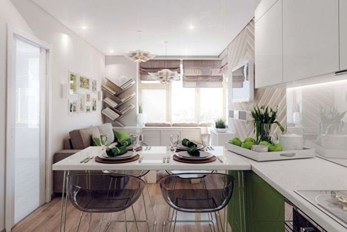 Барная стойка в дизайне кухни.