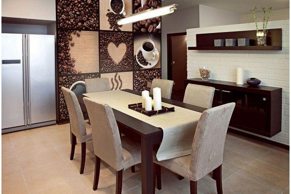 Тематический узор кофе и чашек является одним из самых трендовых – он гармонично вписывается в дизайн, а если комбинировать его другими расцветками покрытий – комната будет выглядеть очень стильно.