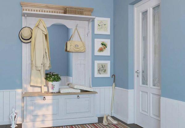 Прованс ярко выражается через фасады: можно использовать зеркальные поверхности, дощатый дизайн, цветные вставки. Актуальные оттенки – голубой, беж, белый.