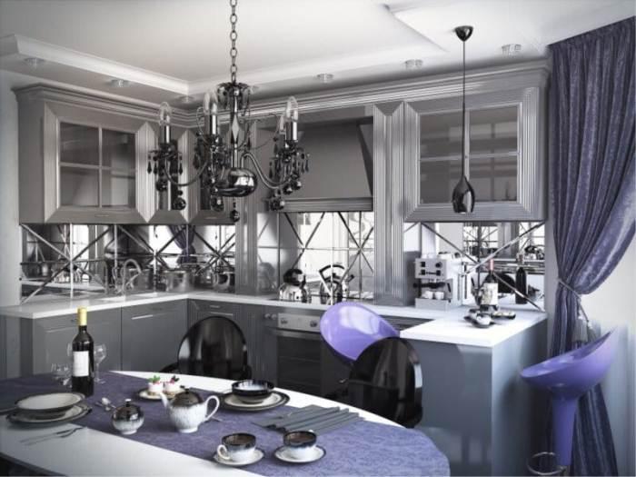 Кухня в фиолетовых тонах.