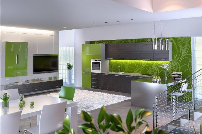 Серо-зеленая кухня.