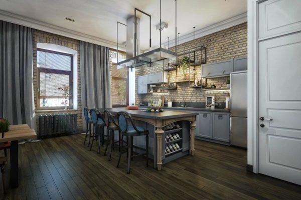 Серые шторы в интерьере кухни в стиле Лофт