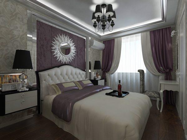 В спальне хорошо будут смотреться мягкие формы и красивые складочки. Занавески должны быть из шелка или атласа, ниспадающего на пол. В данной идее уместно сочетание разных фактур и обилие красок.