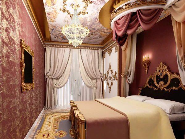 Стиль барокко отличается особой роскошью и золотой отделкой. Идеальны в данном случае французские шторы, сшитые из атласа, шелка или тафты.