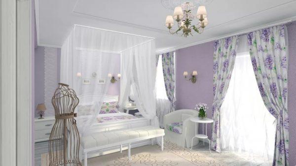 белоснежная хлопковая вуаль с изображением лаванды способна придать спальне теплоты и наполнить ее ароматом цветов.