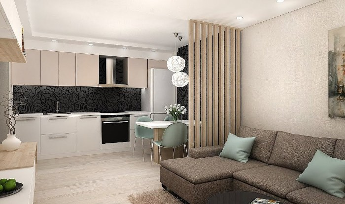 Дизайн-проект кухни гостиной.