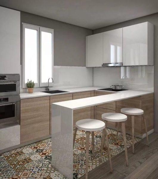Вместо стола на маленькрй кухне можно использовать барную стойку