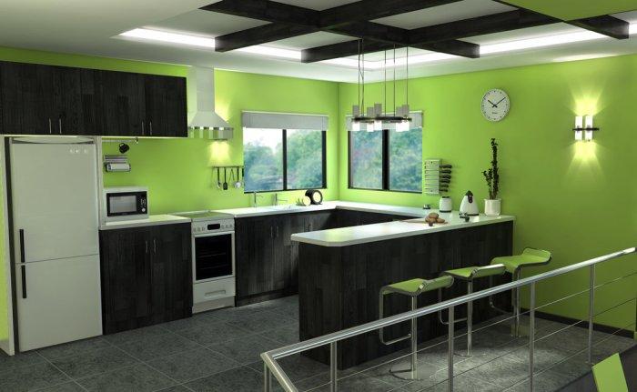 Коричнево зеленая кухня.