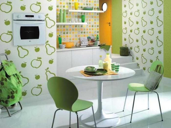 Зеленый цвет на кухне.