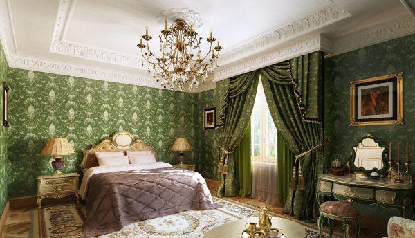 Спальня в классическом стиле выглядит спокойно, элегантно, гармонично и просторно.