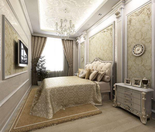 Маленькую спальню можно оформить в дворцовом стиле