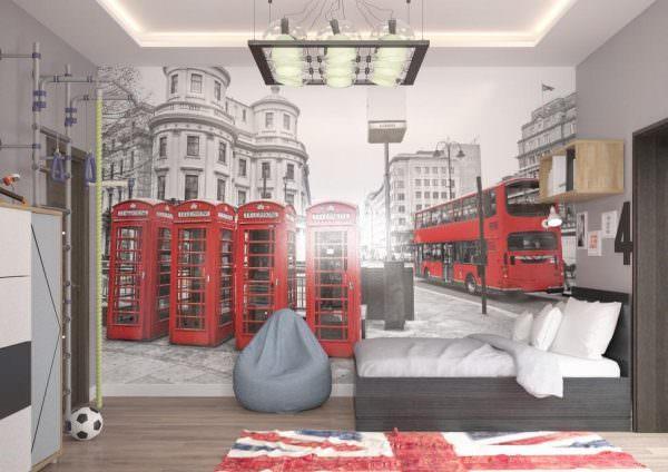Дизайн детской комнаты в английском стиле может иметь всего одно цветовое пятно – фотообои с видом Лондона.