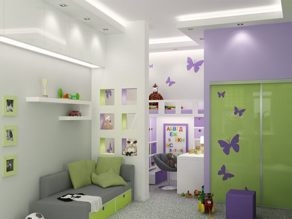 . Зрительное деление предполагает, например, окраску стен в различные цвета.