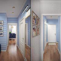 Обои в прихожую в интерьере под светлые двери: фото помещения