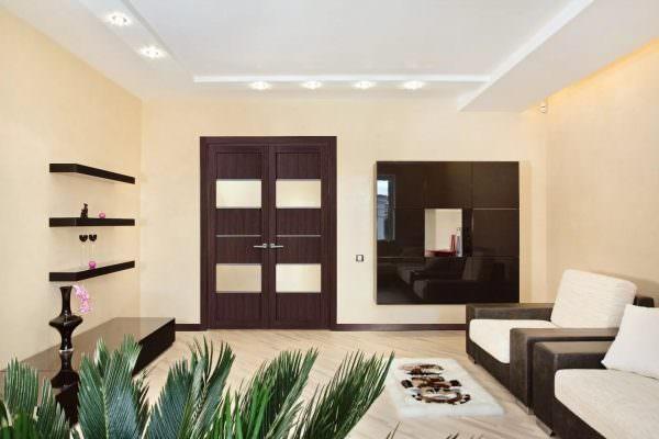 Для создания полноценного антуража стиля, выполните двери в духе выбранного направления. Для классики это может быть резное произведение, для арт-деко и модерна деревянная дверь с элементами металла.
