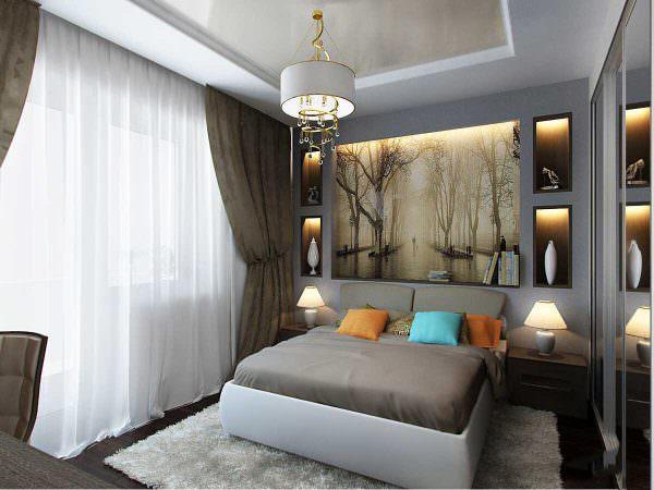 С помощью такого неординарного подхода можно создать не только комфортную и удобную спальню, но и добавить дизайну уникальность.