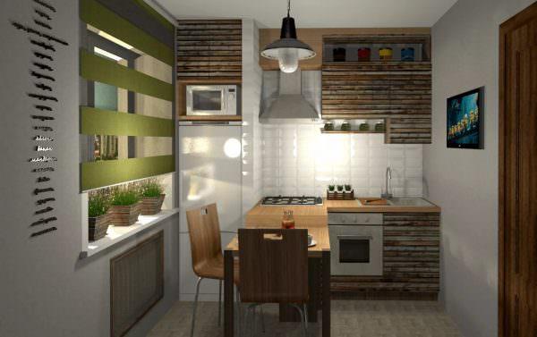 В маленькой кухне тоже можно расположить обеденную зону