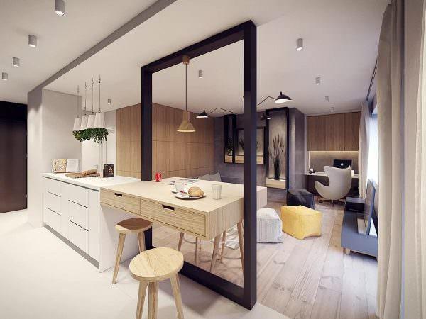 Обеденная зона в кухне- студии