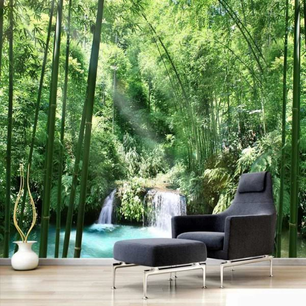 Этно-обои впечатляют своим разнообразием. Можно создать в гостиной картины с изображением диких джунглей или лесов.