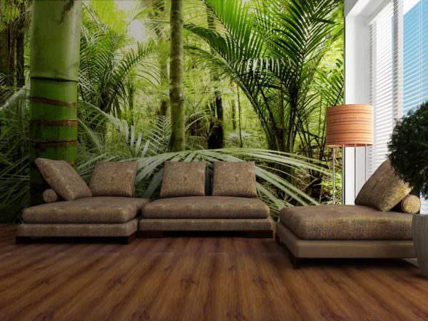 При желании можно одну из стен украсить лесом, джунглями, цветущими сакурами и так далее.