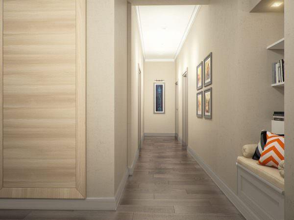 Для прихожей со светлыми дверями отлично подойдут обои пастельных тонов
