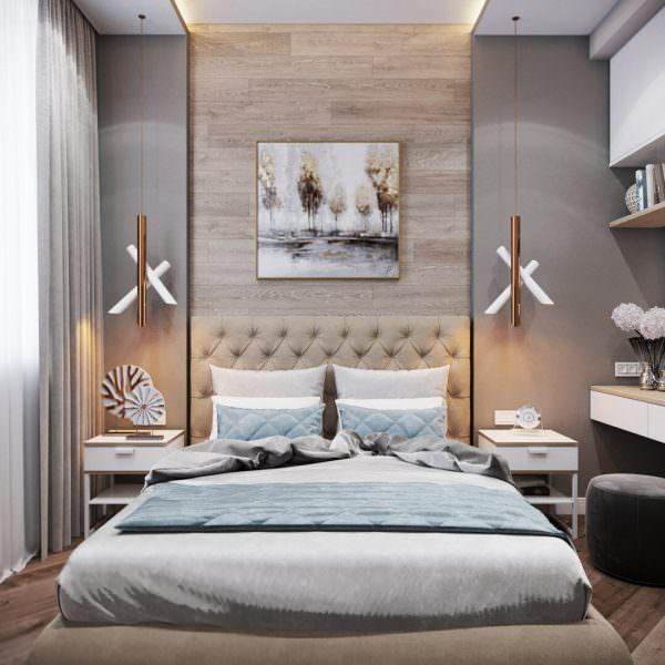 Кровать можно расположить в центре, а мебель симметрично по бокам