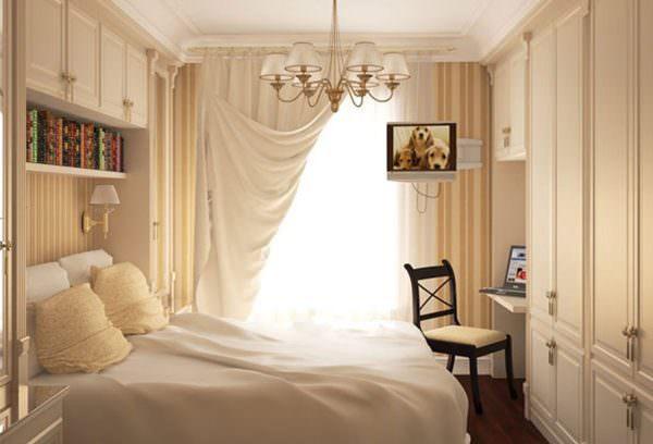 Для оформления спальни в стиле прованс используются пастельные оттенки