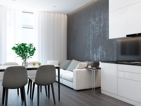 Практичный дизайн дает возможность использовать любые материалы, нейтральных цветов, яркие занавески испортят стиль интерьера.