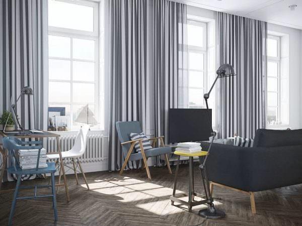 Скандинавский. Популярный в 2019 году дизайн, подойдут шторы в стиле минимализм или лофт.