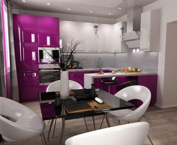 Если у вас кухня-гостиная – тем лучше. Визуальное полу-зонирование выполните с помощью барной стойки.