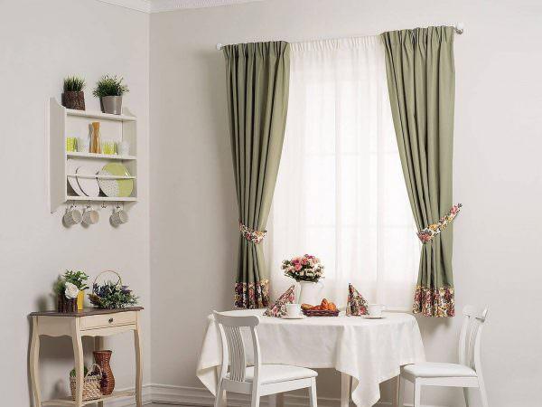 Оливковые шторы на кухню