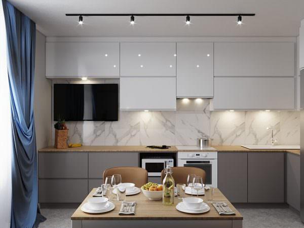 Кухня с тонкой столешницей в светлых тонах