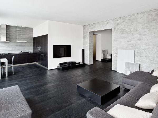 Сегодняшняя мода стремиться выделить верхние и нижние плоскости помещения, делая акцент на контрасте и текстуре.
