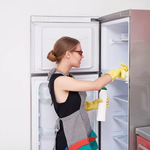 Для безопасного мытья холодильника можно смело использовать неабразивные моющие вещества, содовый, мыльный или уксусный раствор, а также мягкое средство для мытья посуды.