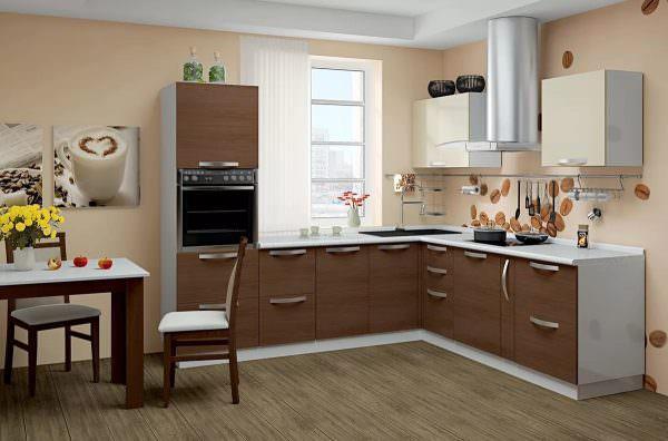 Для придания утонченности светлой кухне, предлагается выбирать песочные и пастельные оттенки обоев.