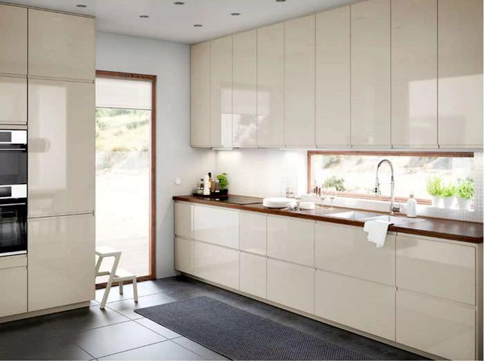 нужно взять дизайн кухонного гарнитура белый глянец фото была уже мертва
