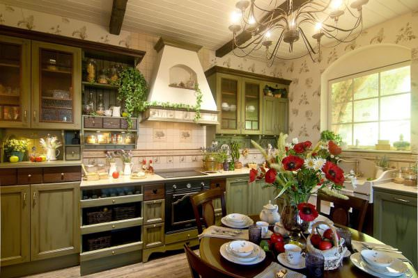Если выбор пал на оливковый цвет, стоит разбавить его бежевым оттенком в мебели, посуде или текстиле.