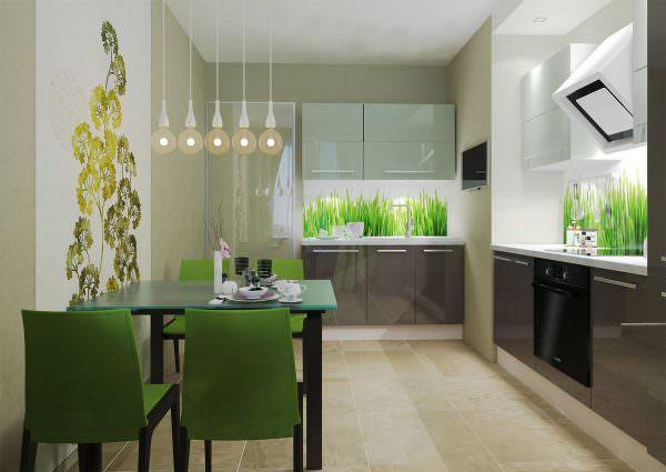 Кухонный гарнитур приобретается комбинированной палитры.