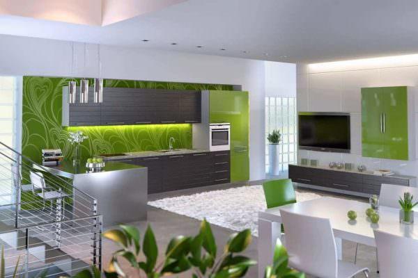 Бело салатовые кухни подходят как для светлых, так и для темных помещений. Дополнительной палитрой послужит серая гамма.