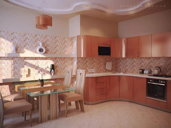 Кухня в персиковых тонах всегда смотрится эстетично, на ней приятно готовить, принимать пищу.