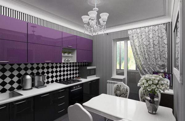Кухонный гарнитур приобретается черной палитры.