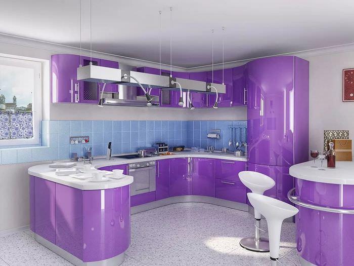 самое угловые кухни фиолетового цвета фото подобрали для вас