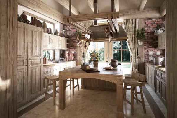 Обеденный стол и стулья стоит выбирать из дерева, в ретро стиле допустимы кованые элементы в мебели.