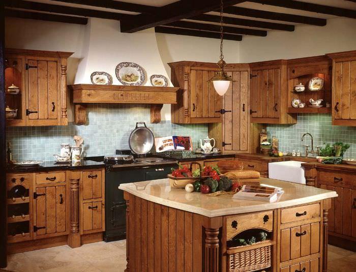 Красивая деревянная кухня картинки