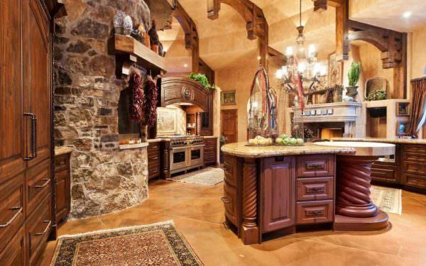 Основным элементом интерьера кухни под старину является мебель.