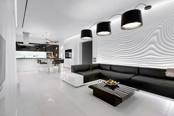 Для кухни-гостиной в стиле хай тек идеально подойдут черные или серый узоры на белом или бежевом фоне.