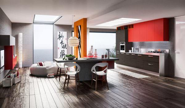 Наличие гостиной, совмещенной с кухонным пространством