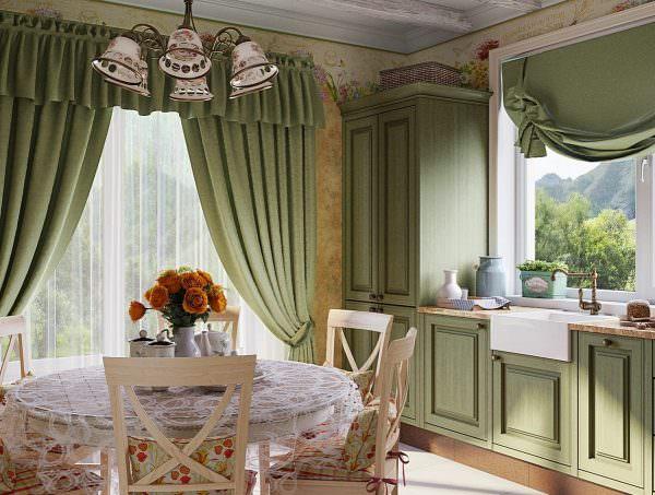 Шторы на кухню в стиле прованс объединяет особый уют, который они создают.